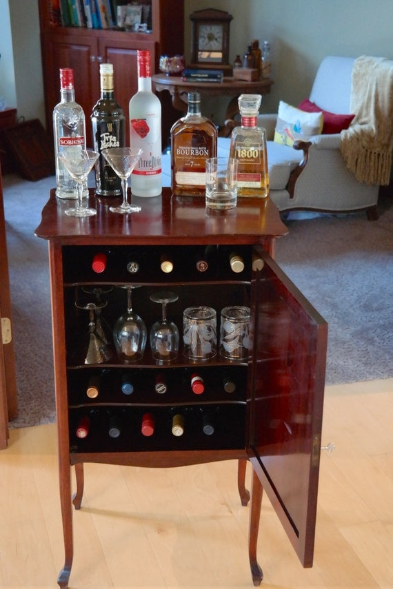 Antique Vintage Cocktail Wine Bar Serving Station, Sheet Music Cabinet, Bar Cabinet, Wine Cabinet, Liquor Cabinet, Bar Cart
