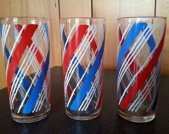 3 Vintage Libbey Red, White, and Blue Striped Tall Tumblers Glasses
