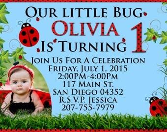 Custom Lady Bug Birthday Invitation w/ Picture! Digital Download! Printable BirthdayParty Card!