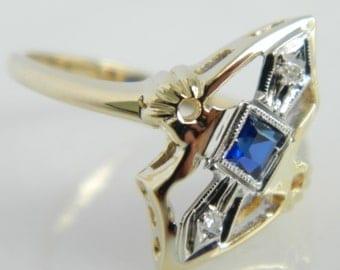 Vintage 14K Gold Sapphire Diamond Art Deco Ring