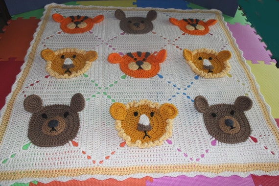 Lions Tigers and Bears Crochet blanket toddler size 36