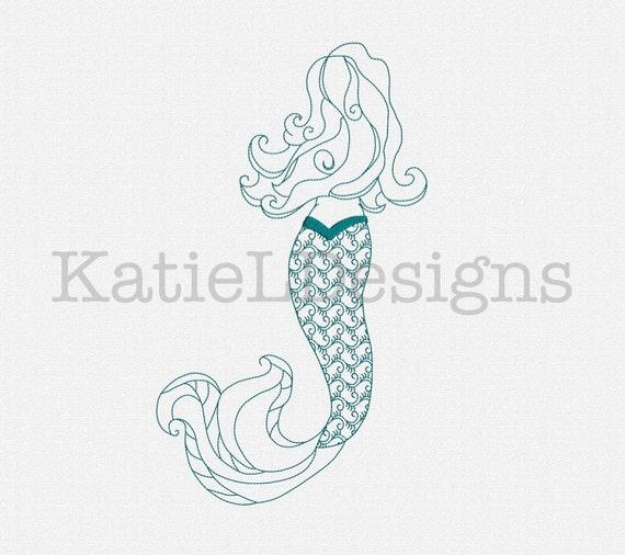 Redwork mermaid machine embroidery design pattern download