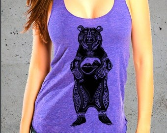 BEAR Tribal Shirt Racerback Tank Top/Gift Graphic tee Tank Native American Festival Top(women american apparel top)-Girlfriend Gifts for her