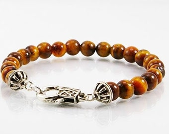 mens bracelet in tigereye, mens bracelet bead,tigereye bracelet, gemstone men bracelet, beaded bracelet, men jewelry