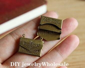 10pcs Antiqued Bronze Envelope Raw Brass Locket Pendants / Charms / diy craft