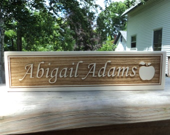 Personalized engraved wooden name plate for office , school or home 2.5in x 10in (Nc_teach_05a).
