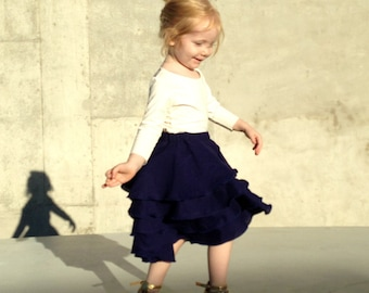 Girls Flamenco Skirt with Party Ruffles in Midnight Blue