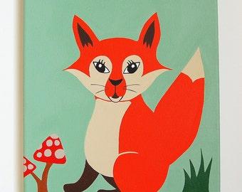"Fox Painting, Woodland Nursery Art, Fox nursery decor, Woodland Animals, Forest Friends, Baby Boy decor, Orange Fox, 10"" x 12"" painting"