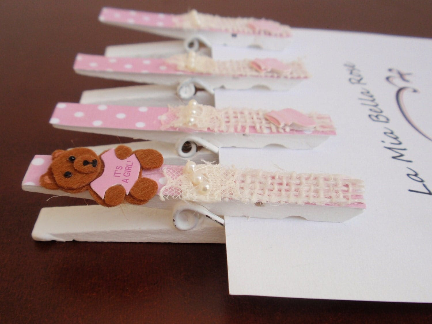 baby shower clothespins it 39 s a girl decorated with teddy
