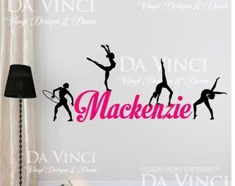 Gymnast Gymnastics Custom Personalized Name Wall Decal Vinyl Sticker Room B