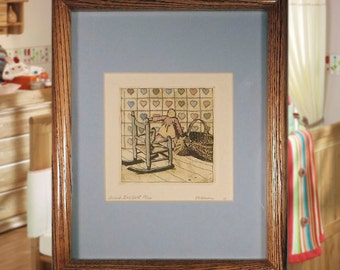 Vintage Signed Hand Colored & Hand Printed Limited Edition Amish Ragdoll Etching.  Ideal  For Any Child's Room!