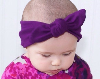 Plum Purple Baby Girl Adorable Boho Head Wrap - Jersey Knit Little Girl/Adult Knot Head Wrap