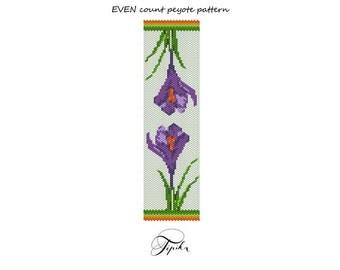 peyote pattern bracelet crocus flowers