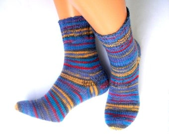 Blue Yellow Red Hand Knitted Socks Blue Yellow Red Striped Women's Socks Blue Girl's Socks Men's Socks Winter Socks Warm Socks Elegant socks