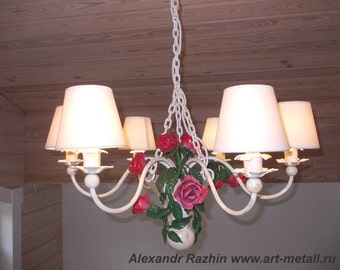 Wrought iron  Rose Bouquet Chandelier