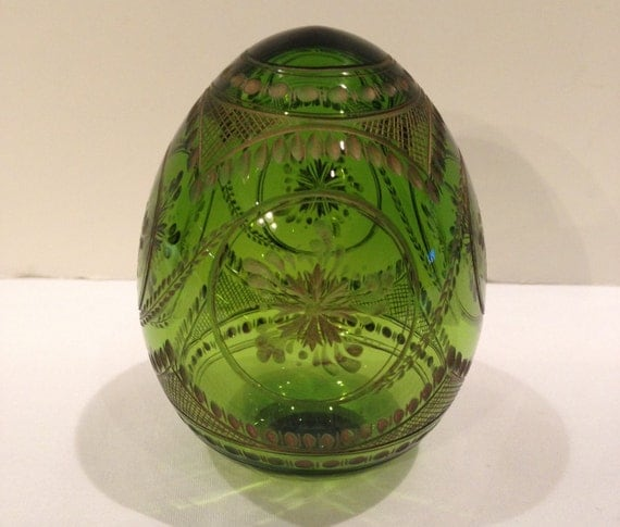 Russian Glass Hand Crafted Etched Egg Gold Etching