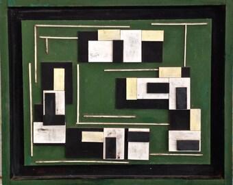 Mid Century Modern 3 D Abstract Wood Panel Art De Stijl