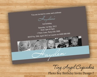 DIY Print Baby Boy Birthday Invitations/Invites