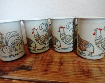 Vintage Japanese Rooster Mugs (Set of 4)