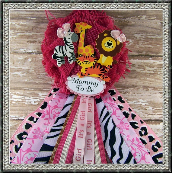 Safari Baby Shower Corsage: Pink Safari Animals Mommy To Be Corsage Baby By BloomingParty