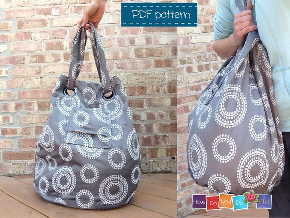 Beach Bag Sewing Pattern Instant Download PDF Tote Bag
