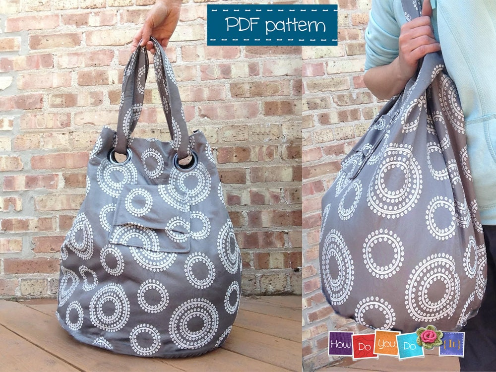 Beach Bag Sewing Pattern , Instant Download PDF , Tote Bag Pattern ...