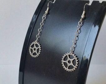 Sterling Silver Steampunk Earrings, Steampunk Gear Earrings, Metal Gears, Steampunk Jewelry, Industrial Earrings, Gift Idea, dangle drop