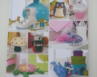 Mushroom / Cupcake / Turtle /crafts / sewing pattern / Pin cushion / owl /  hat / sewing basket / boot / 2008 sewing pattern Simplicity 2990