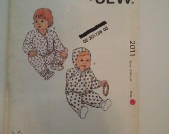 Baby pants /booties /shirt / baby bonnet pattern/ vintage Sewing Pattern, Sizes small medium large X-large, Kwik Sew 2011 CarolJoyFashions