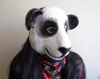 Masquerade mask Paper mache animal mask Panda mask Bear mask Fancy dress Face mask epicfantasy mask