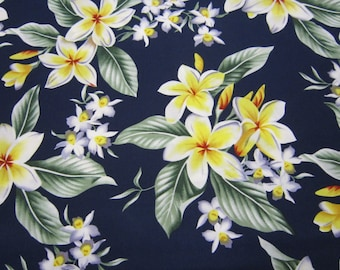 Tropical Flowers in Navy Background Called Tropical Tradwinds by Hoffman International from 2009