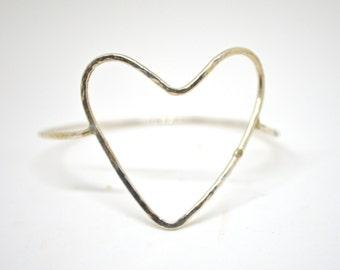 Open Heart Bangle, Hammered Heart Bracelet, Sterling Heart Bangle