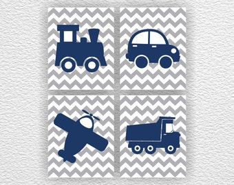 Car, plane, truck , train Silhouette, Chevron, Navy blue, with, grey, Baby Boy Room Playroom Wall Art Set of 4, 8х10, Instant Download
