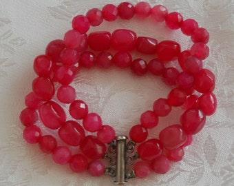 3 strand spinel & silver bracelet