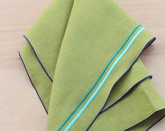 "Linen Tea Towel, Embroidered Tea Towel, Chartreuse Tea Towel, Hostess Gift, Linen Towel, Kitchen Towel, Hand Towel, 18"" x 27"" (one)"