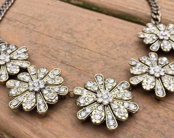 Bronze Rhinestone Flower Necklace- The Annabel