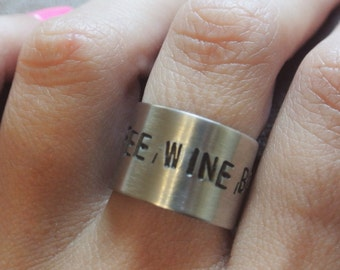 Coffee, Wine, Books - The Writer's Diet Ring - Poetry Jewelry