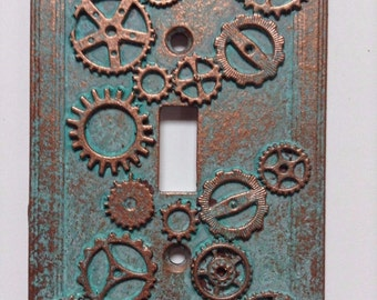 Gears (Steampunk) Stone or Copper/Patina Light Switch Cover (Custom)