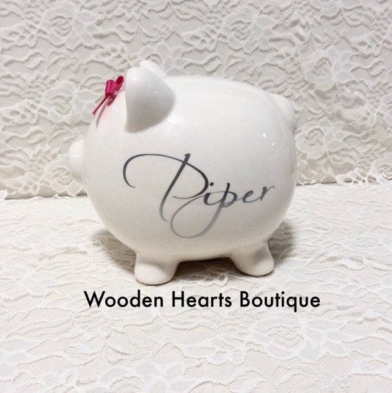 Large metalic silver monogramed by woodenheartsboutique on etsy - Engraved silver piggy bank ...