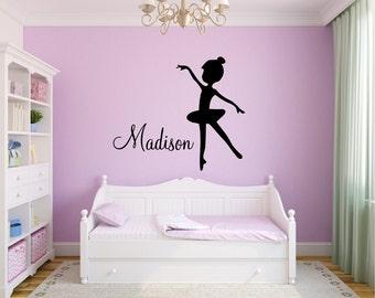 Ballerina Dancer with Custom Name Silhouette