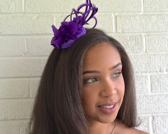 Purple Fascinator, Aubergine headpiece- Brides maids headpiece -Mardi Gras headpiece-Carnival. Girls headpiece Teen Summer party hat-