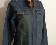 Women Jean Jacket Vintage Denim Jacket Metal Buttons-Zipper Lock  Medium Size Made In Germany