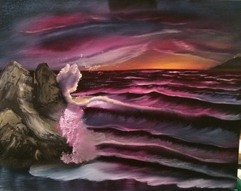 Deep Callings,2timothys16,sunset painting, christian art, purple painting, orange sunset painting, sunset ocean painting,purple oil painting