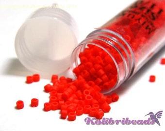 1x 5.2gr Vial Round Miyuki Delica Seed Beads 11/0 (2 mm) - Red Vermillion DB 757