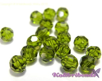 10x Swarovski 5000 Faceted Round Beads 6mm - Olivine - Genuine Austrian Crystal