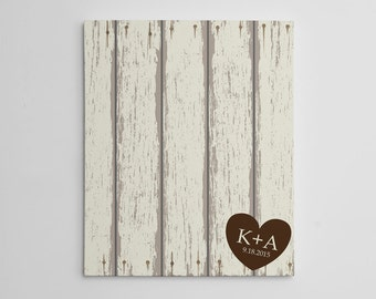 Rustic Wedding Guest Book Canvas - Custom Wrapped Canvas