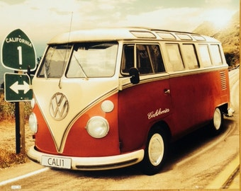 Red VW Bus Camper poster 16 x 20