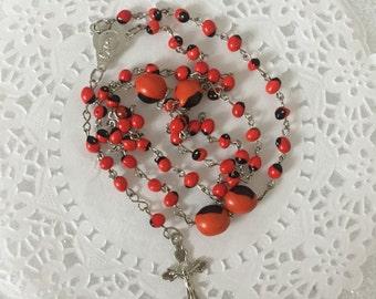 Peruvian Huayruro Rosary. One piece .