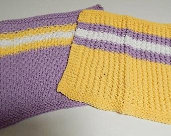 Purple Dishcloths, Yellow Dishcloths, Large Dishcloths, Cotton Dishcloths, Knit Dishcloths, Hand Knit Dishcloths, Knitted Dishcloths