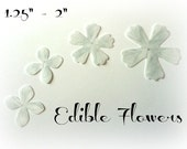 "52 Silver Flower Assorted Sizes Set of Edible Wafer Paper Flowers 1.25""-2"" Pre Cut Decorations Cake Cupcakes Garnish Glasses Plates Desserts"